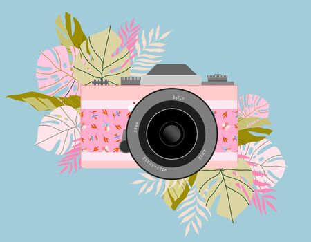 Hand-drawn vector photo camera and flowers around. Trendy t shirt, card design.