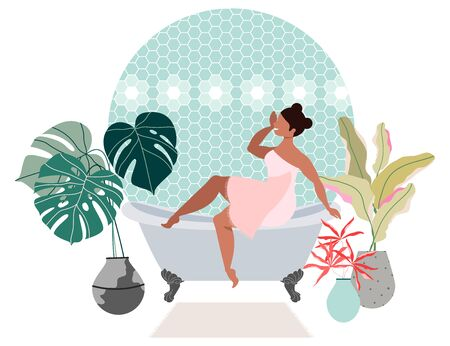 Girl taking bath. Woman sitting on a bath. Bathroom interior design. Trendy bathroom design. House plants - monstera and palm leaves in pots. Modern tiles on the walls. Woman in a towel. Ilustración de vector