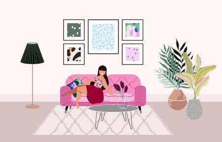 Long hair woman sitting on the pink sofa in the living room. Trendy interior design. House plants and picture frames on the wall. Hand drawn modern vector illustration for web banner, booklet design.
