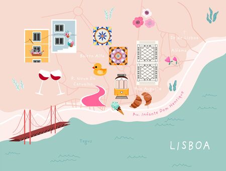 Modern illustrated Lisbon city map. Trendy hand-drawn stylised map of Lisbon with street names and popular locations and things. Portugal map poster. Contemporary map design for web and print.