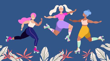 Girls in roller skates. Happy rollerskating girls among tropical leaves. Summer activities concept. Modern cute illustration for web banner, card design. Cute girls having fun. Summertime vector.
