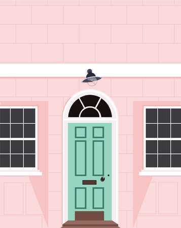 Beautiful peach house facade. Modern outdoor design. London style property. Trendy hand drawn vector illustration of a peach colour house with a light green door. House wall, door and two windows.