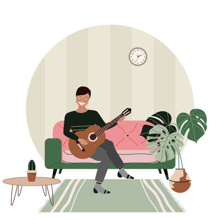 Young man playing guitar at home. Private guitar lessons. Man sitting on a sofa. Hand-drawn vector illustration of a male character learning to play guitar. Online guitar courses. Modern interior. Çizim