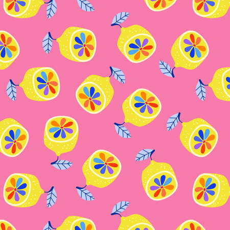 Rainbow lemons on pink pattern. Trendy hand-drawn vector stylised lemons on a pink background. Pride, summertime concept. Crazy coloured lemon wallpaper design for web banner and print. Ilustrace
