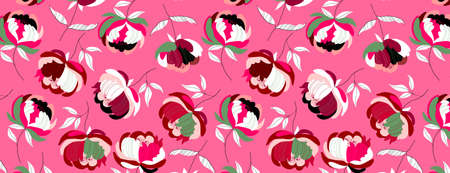 Rich big pink peonies seamless flower pattern. Mustard yellow background. Hand-drawn modern illustration of big flowers with white leaves on a solid colour. Fabric, web, app, stationery design asset. Vecteurs