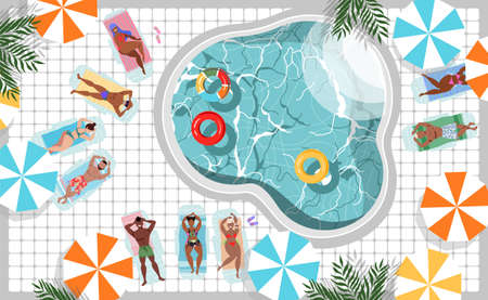 People sunbathing at the pool. Resort, hotel and SPA concept. Summer tourists, travellers, umbrellas, colorful beach towels. Top down view. Trendy vector web design element. Crystal clear pool water. Illustration
