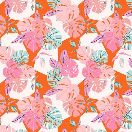 Orange tropical pattern. Seamless Caribbean exotic plants and geometric shapes. Modern hand drawn vector illustration for background, banner, textile. Summer in tropics concept.
