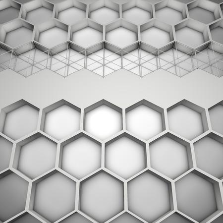 honeycombs: 3d illustration of honeycombs