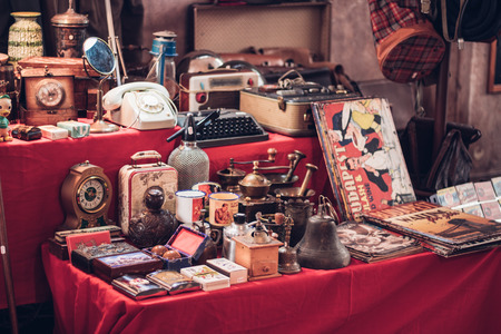 Antique watches, magazines, phones, suitcases and other retro products