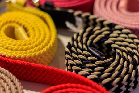 Great selection of colorful canvas belts rolled up in a fashion store.