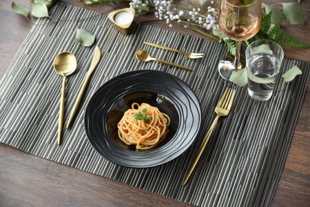 spaghetti on the wooden table