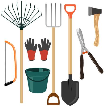 pushcart: Set of isolated garden tools on white background