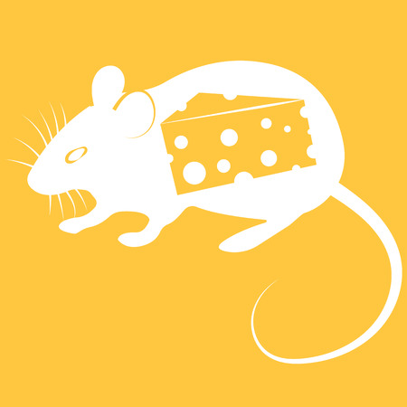 Vector illustration of mouse with cheese on orange background 일러스트