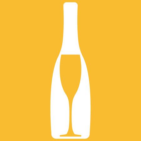 champagne orange: Vector illustration of champagne bottle with wineglass on orange background Illustration