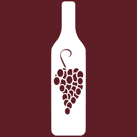 Vector illustration of wine bottle with vine on burgundy background