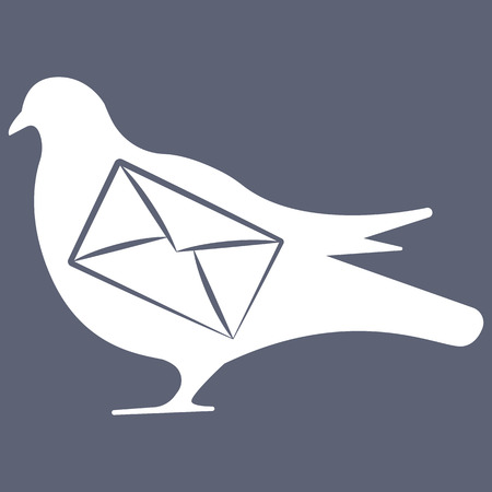 mailer: Vector illustration of pigeon with letter on grey background