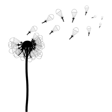parachuter: Vector illustration of dandelion with paratroopers on white background