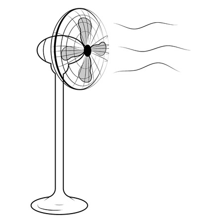 ventilate: Vector illustration of black air fan on white background
