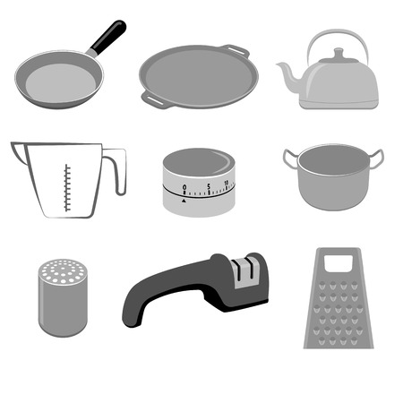 stainless: Vector set of stainless and wooden kitchen utensils on white background