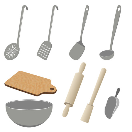 metal grater: Vector set of stainless and wooden kitchen utensils on white background