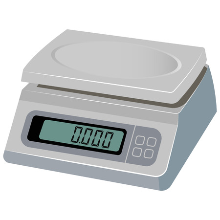 grams: Vector illustration of electronic scale on white background
