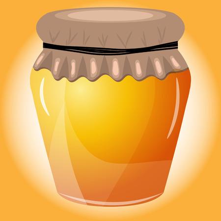 pot miel: Vector illustration du pot de miel sur fond orange