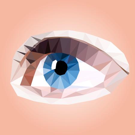 triangular eyes: Vector illustration of woman eye, poly art