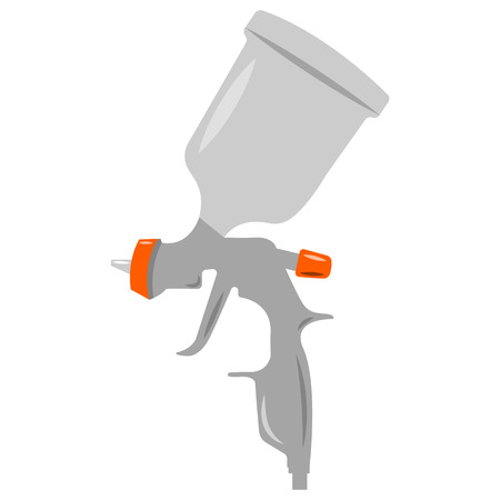 airbrushing: Illustration of sray gun, grey color, an white background Stock Photo