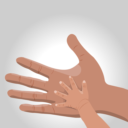 adult hand: illustration of  father and child hands on grey background Illustration