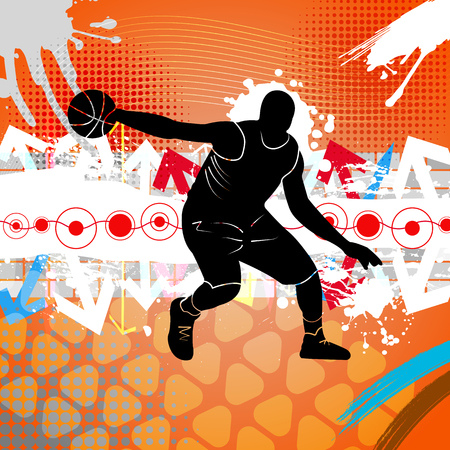 dunking: Illustration with basketball silhouette on abstract background