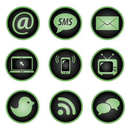 wireless tower: Set of social icons on white background Illustration
