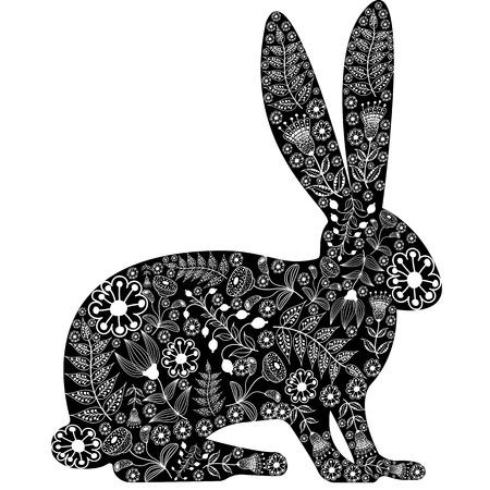 silhouette lapin: silhouette de lapin fait de fleurs, fond blanc