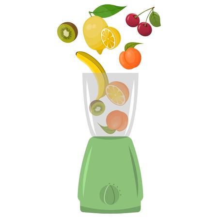 Illustration of blender with fruits, white background