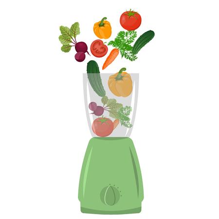 vegetables on white: Illustration of blender with vegetables, white background