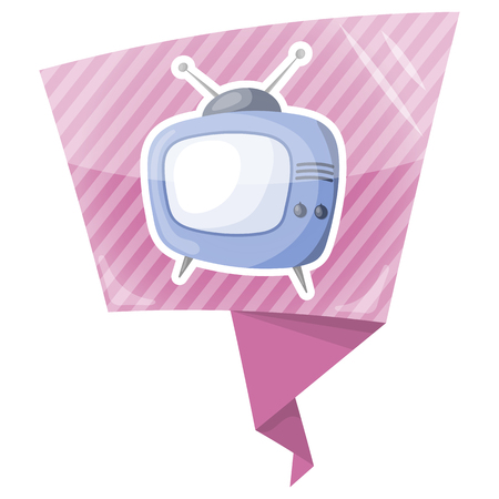 show case: Vector single tv colorful icon an a purple background Illustration