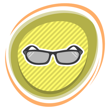 sun protection: Sunglasses colorful icon an a white background Illustration