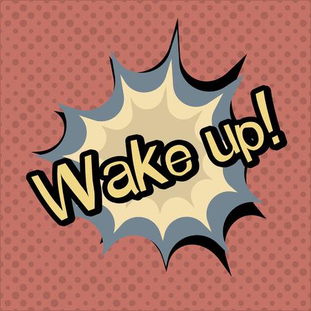 alarmclock: Wake up vector poster. Vector colorful illustration Illustration