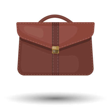 Vector single colorful briefcase icon an a brown background