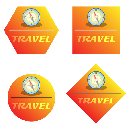 direction magnet: Vector colorful compass icon an a orange background