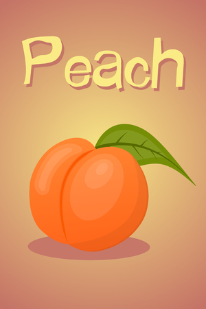 fruited: Vector colorful peach icon an a green background