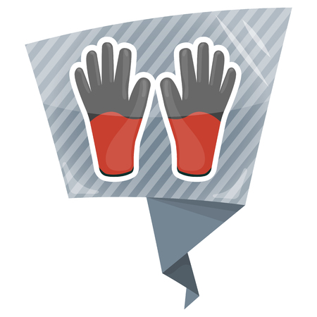 protection gear: Work gloves colorful icon. Cartoon vector illustration