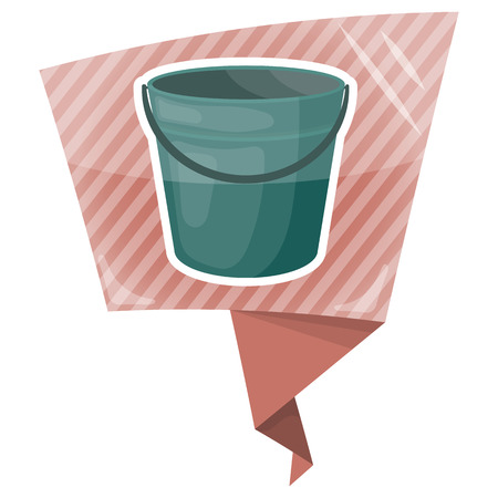 filling material: Bucket colorful icon. Empty bucket vector illustration icon