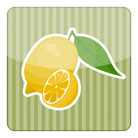 citric: Single vector yellow lemon on white background