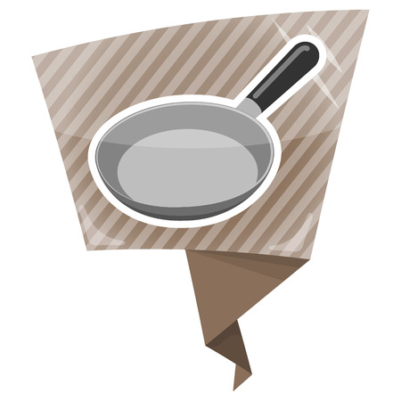 browning: Pan colorful icon. Kitchen Utensils For Frying Food Illustration