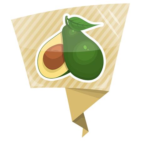 avocado: Avocado colorful icon. Vector icon of avocado and cut avocado half