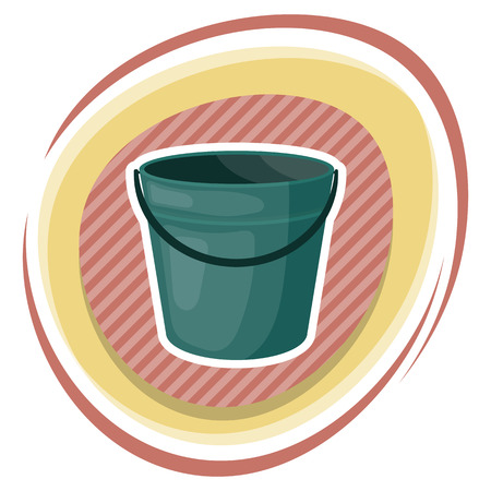 tare: Bucket colorful icon. Empty bucket vector illustration icon