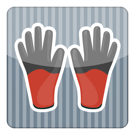 protective gloves: Work gloves colorful icon. Cartoon vector illustration