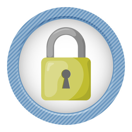 intrusion: Vector colorful lock icon an  blue background Illustration