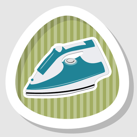 dry cleaner: Clothing iron colorful icon. Vector illustration
