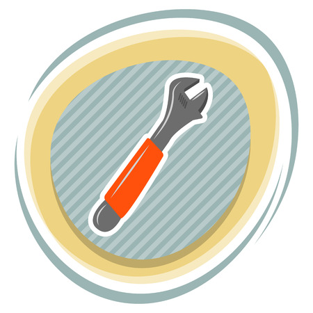 adjustable: Adjustable wrench colorful icon. Vector colorful illustration